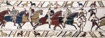 Horse-mounted Normans charging in the Bayeux Tapestry, 11th century.