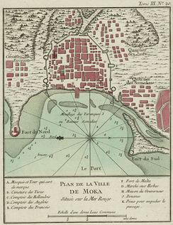 18th century French plan of Mocha, Yemen. The Somali, Jewish and European quarters are located outside the citadel. The Dutch, English, Turkish and French trading posts are inside the city walls.