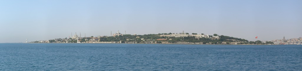 From left to right: The Sultan Ahmed Mosque; the Hagia Sophia; the Seraglio Point consisting of the Topkapı Palace and the Sea Walls; and the Galata Tower at far right, across the Golden Horn.
