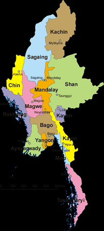 Map of Myanmar and its divisions, including Shan State, Kachin State, Rakhine State and Karen State.