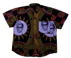 A Congolese cotton shirt embellished with a portrait of Mobutu from the collection of the Tropenmuseum in Amsterdam