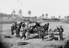 Ambulance drill being demonstrated at Headquarters Army of Potomac after the Battle of Antietam and the formation of the ambulance corps. (March 1864)