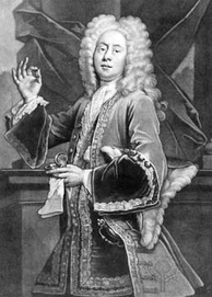 "Colley Cibber as the extravagant and affected Lord Foppington, ""brutal, evil, and smart"", in Vanbrugh's The Relapse (1696)."