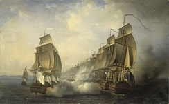The British (right) and the French (left), with Admiral Suffren's flagship Cléopâtre on the far left, exchange fire at Cuddalore, by Auguste Jugelet, 1836.