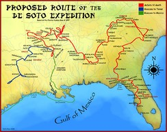 A proposed route for the de Soto Expedition, based on Charles M. Hudson map of 1997.[1]