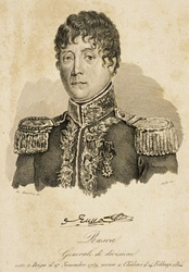 Sepia print labeled Rusca shows a man in a dark military uniform with lace on the high collar and epaulettes. He has curly dark hair, round eyes and a thin build.