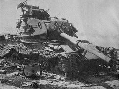 An Israeli M60 Patton tank destroyed in the Sinai.