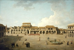 The Piazza (or main square) in central Havana, Cuba, in 1762, during the Seven Years' War.