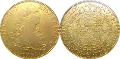 Spanish gold 4-doubloon coin (8 escudos), stamped as minted in Mexico city mint in 1798. Obverse: Carol.IIII.D.G. Hisp.et Ind.R. Reverse:.in.utroq.felix. .auspice.deo.fm.