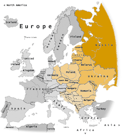 "Pre-1989 division between the ""West"" (grey) and ""Eastern Bloc"" (orange) superimposed on current borders:   Russia (the former RSFSR)   Other countries formerly part of the USSR   Members of the Warsaw Pact   Other former Communist states not aligned with Moscow"