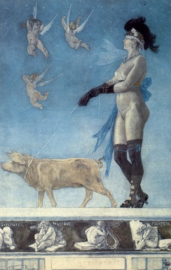 Pornocrates by Félicien Rops. Etching and aquatint