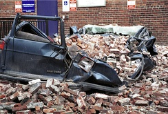 A large van was crushed by bricks in a Seattle parking lot.