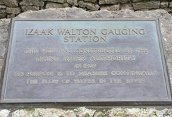 Plaque marking the construction of the River Dove gauging station, dedicated to Izaak Walton, author of The Compleat Angler.