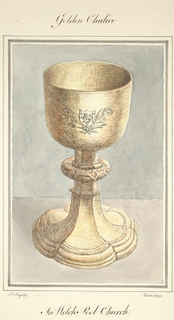 A golden chalice as seen in Welshpool Church, 1794