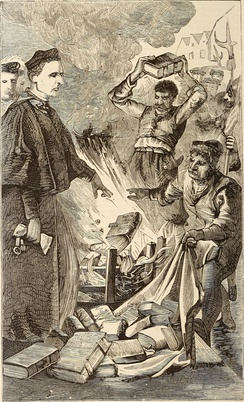 Bishop Tunstall burning a translation of the Bible in London, 1870 illustration