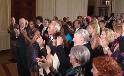 Sandy Koufax (center of first row) at first White House reception for Jewish American Heritage Month, May 27, 2010. At Koufax's right are Vice President Joe Biden and First Lady Michelle Obama