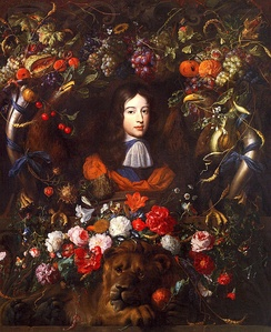 The young prince portrayed by Jan Davidsz de Heem and Jan Vermeer van Utrecht within a flower garland filled with symbols of the House of Orange-Nassau, c. 1660