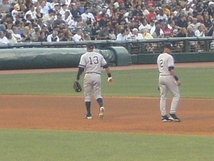 Derek Jeter and Alex Rodriguez play the field against the Cleveland Indians on July 29, 2010. Rodriguez would hit his 600th career homer a few days later.