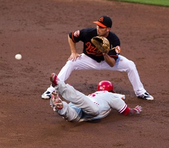 John Mayberry Jr. slides into second base in a game on June 8, 2012