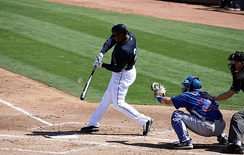 Griffey, batting against the Cubs after returning to the Mariners during Spring training, March 2009.