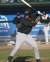 Jansen batting for the Great Lakes Loons in 2008