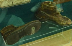 Pair of Lawton Chiles' walking shoes on display at the Florida State Capitol.