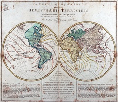 "Engraved world map (including magnetic declination lines) by Leonhard Euler from his school atlas ""Geographischer Atlas bestehend in 44 Land-Charten"" first published 1753 in Berlin"