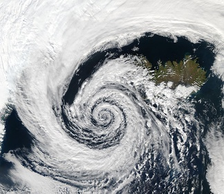 An extratropical cyclone near Iceland on September 4, 2003