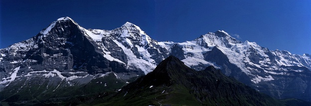 The Eiger (shown along with the Mönch and the Jungfrau) has the tallest north face in the Alps.