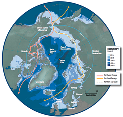 Map of the Arctic region showing the Northeast Passage, the Northern Sea Route within it, and the Northwest Passage.