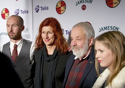 Mike Leigh at Stockholm International Film Festival in Nov 2014, together with actor Olle Sarri, festival director Git Scheynius and Swedish actress Alexandra Dahlström
