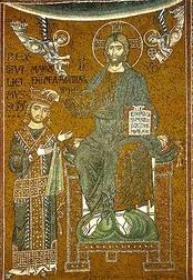 Христос коронует Вильгельма II— мозаика над королевским троном в соборе