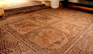 Floor mosaics: Roman villa of Camino de Albalate, Calanda, Spain.