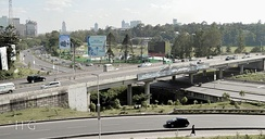 Museum hill interchange, where uhuru highway links to forest road which is an extension of the Thika superhighway.Nairobi's tall skyscrapers can be seen on the background.