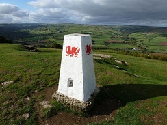 A trig point at Twyn y Gaer, Mynydd Illtud, near the Brecon Beacons Mountain Centre