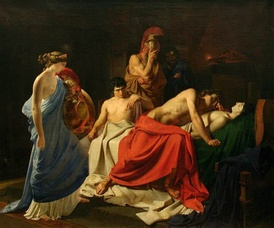 Achilles Lamenting the Death of Patroclus (1855) by the Russian history painter Nikolai Ge (Belarusian National Arts Museum, Minsk)