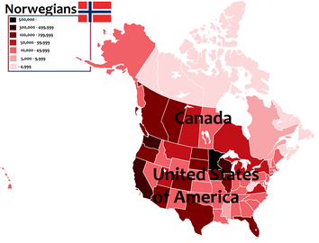 A map of the United States and Canada with number of Norwegian Americans and Norwegian Canadians in every state and province including Washington, D.C..