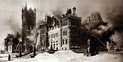 The parliament buildings the morning after the fire of 1916