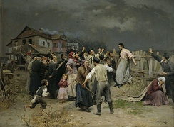Victim of fanaticism. Painting by Mykola Pymonenko, 1899. The painting does not depict a pogrom, but actually documents an event in Ukraine, that the artist read about: a Jewish woman was attacked by members of her community for falling in love with a Christian man. The townspeople are raising sticks and objects, and her parents are shown to the right, denouncing her.
