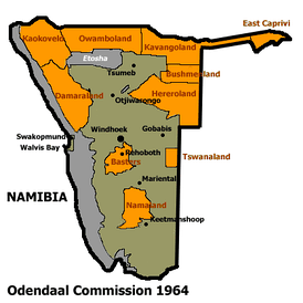 Allocation of land to bantustans according to the Odendaal Plan. Grey is Etosha National Park.