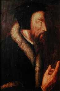 Sixteenth-century portrait of John Calvin by an unknown artist. From the collection of the Bibliothèque de Genève (Library of Geneva)
