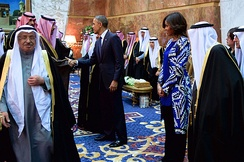 Michelle and Barack Obama with King Salman of Saudi Arabia and members of the Saudi Royal Family, January 27, 2015.