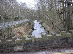 River Irwell close to Broadclough Hall serving Meadows Mill