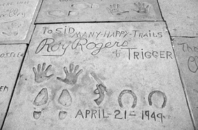 Roy Rogers and Trigger prints on the sidewalk in front of Grauman's Chinese Theatre in Hollywood