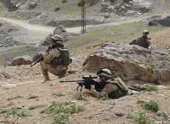 A Land Forces dismounted patrol in Afghanistan, January 2011