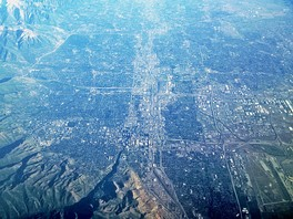 Salt Lake City and adjacent suburbs, facing south