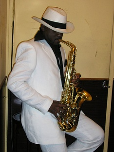 Congolese saxophonist Sam Talanis