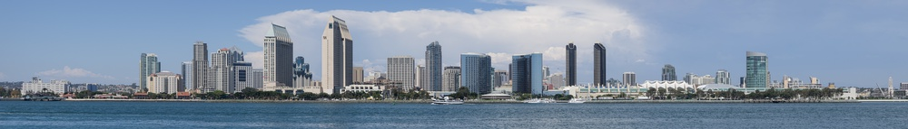 Downtown San Diego skyline during daytime, seen from Coronado, in September 2013
