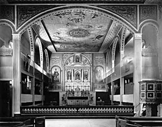 A view toward the altar of the exquisitely ornate Mission Santa Clara de Asís chapel, c. 1897