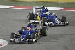 Sauber drivers Felipe Nasr and Marcus Ericsson racing for position at the 2016 Bahrain Grand Prix